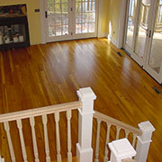 350-year-old reclaimed heart of pine hardwood floor installation, Lake James, NC