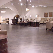 Select red oak flooring on concrete w/ebony stain, furniture showroom, High Point, NC